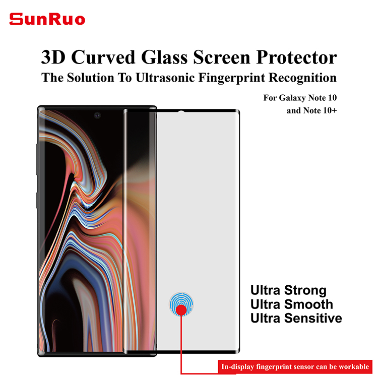 With applicator! Sensitive fingerprint unlocking 3D glass screen protector for Samsung note 10 & note 10 plus screen protector