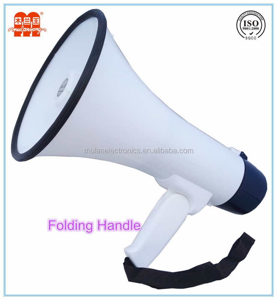 50 Watt rechareable megaphone with built-in siren and strap