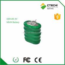 6.0v nimh rechargeable battery pack 160mah capacity,button cell with terminal
