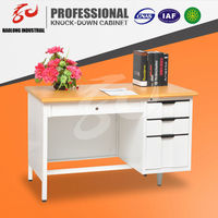 Wooden Top Office Table design Reception Desk / Metal Table Frames Executive Desk