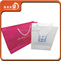 custom purple pink garment transparent shopping bag