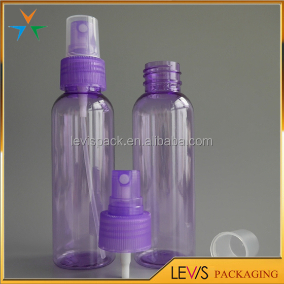 High quality purple color plastic cosmetic fine mist spray bottle with pump dispenser
