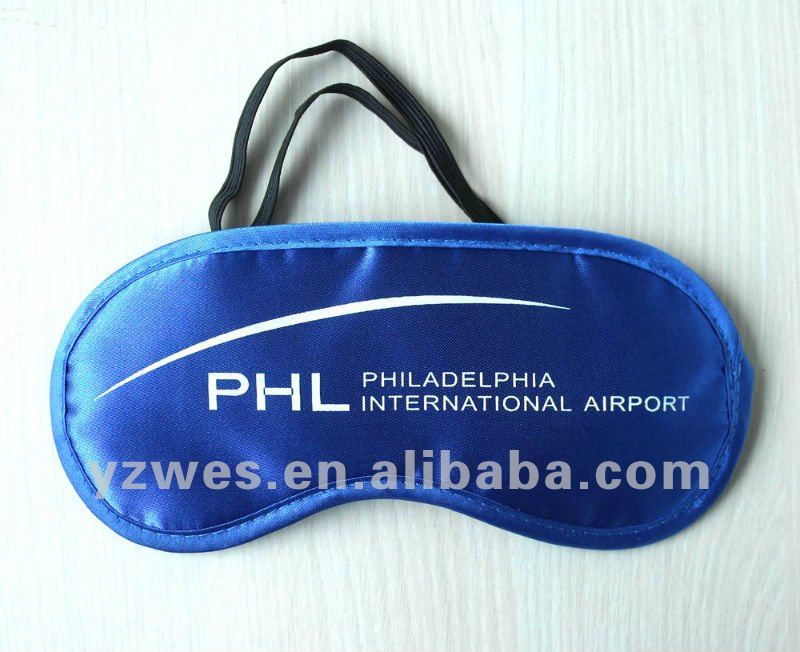 blue slap-up comfortable beautiful satin sleeping mask with printing logo protecting your eyes