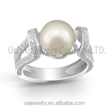 925 cubic zircon freshwater pearl ring silver 9.25 ring