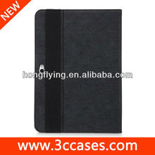 Vintage logo embossed elastic belt leather Case for ipad 5