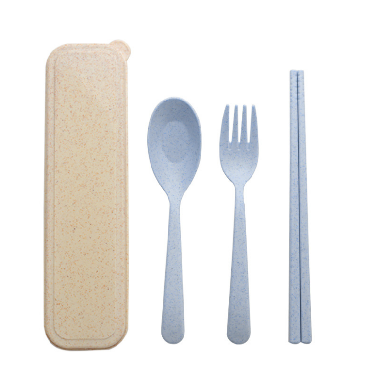 Wheat Straw Plastic Spoon Fork Chopsticks Set Reusable Camping Biodegradable Cutlery Sets