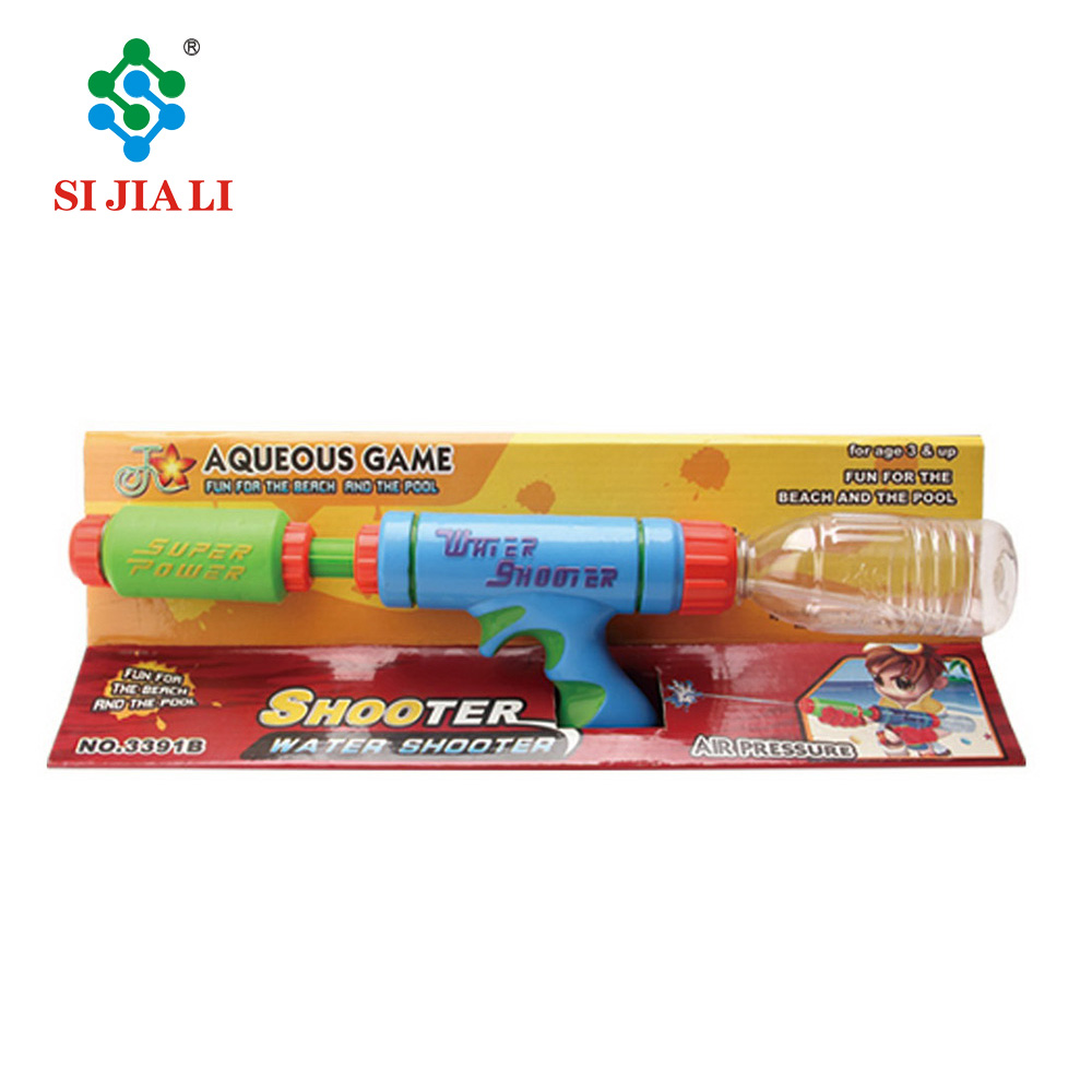 Aqueous game air pressure plastic water shooter with beverage bottle for kids