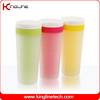 Popular 400ml plastic double wall coffee cup with lid (KL-5007)