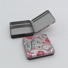 Small flat square shape hinged lip metal tin box for candy storage