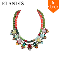 E-ELANDIS //Green handmade necklace crystal choker// ethnic design women bib necklace 2016 chunky choker necklaces NL13542