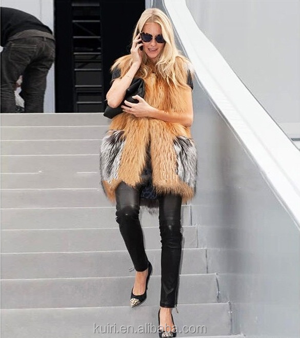 Real Silver Fox Fur Winter Faux Fake Vest Women Long Fur Vest Warm Sleeveless Plus Sizes Vest Jacket Coat Waistcoat Outwear
