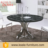 Natural color metal frame natural round marble japanese dining table