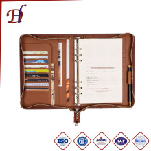 PU Leather loose-leaf folders Portfolio PU Leather Padfolio Document Holder and Custom zipper notebook