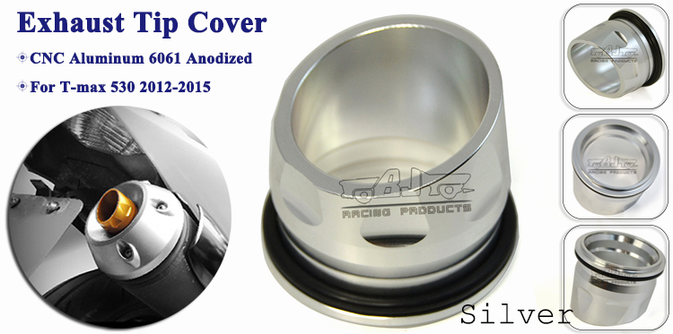 BJ-ETC-YA001 Silver Custom Motorcycle Parts CNC Aluminum Exhaust Tip Cover for YAMAHA TMAX530