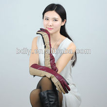 Ladies wholesale three-tone elbow length long opera leather gloves