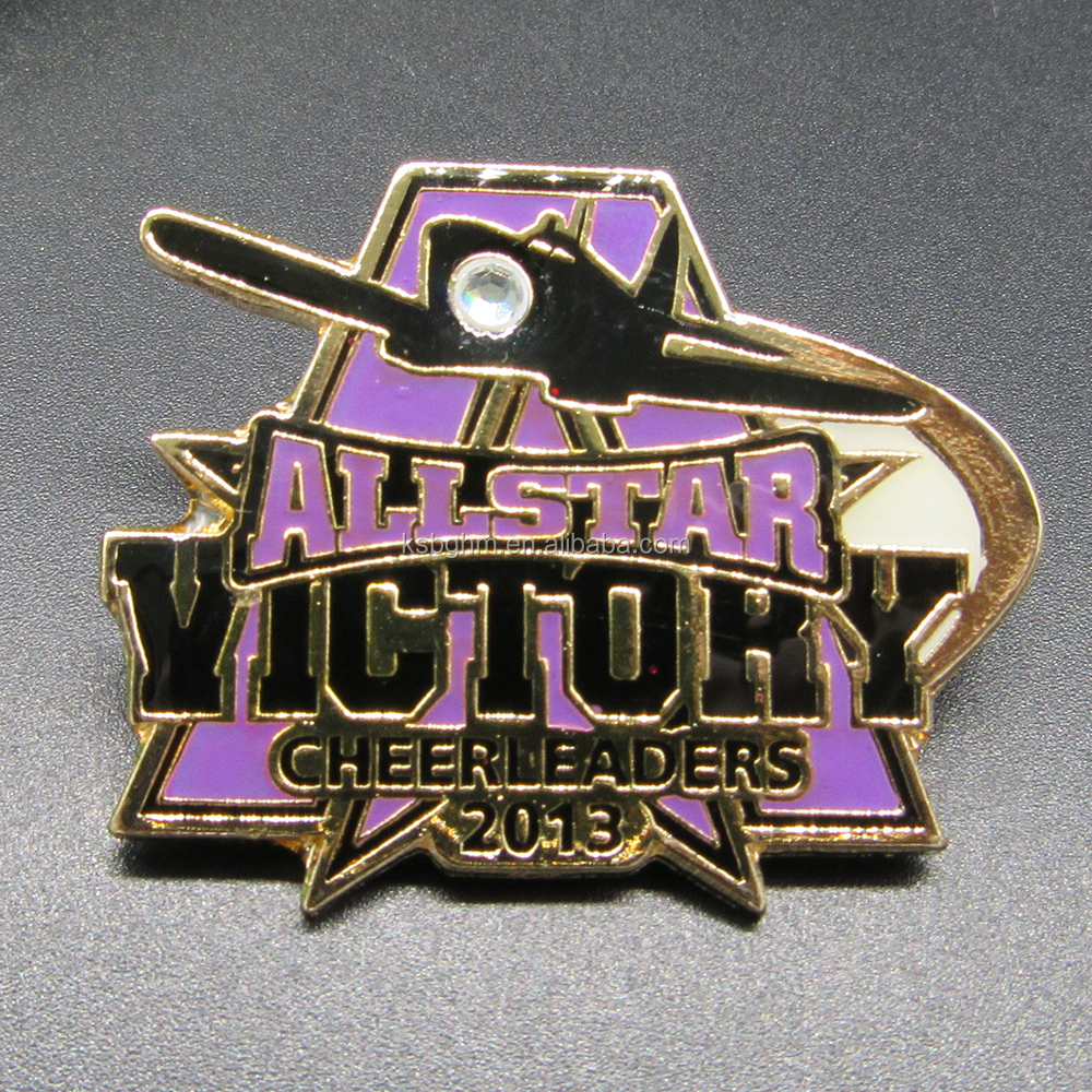 Customized soft enamel with epoxy ALL STAR badge with one white rhinestone