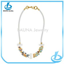 Wholesale fashion white make a leather cord necklace manufacture supply make braided leather necklace