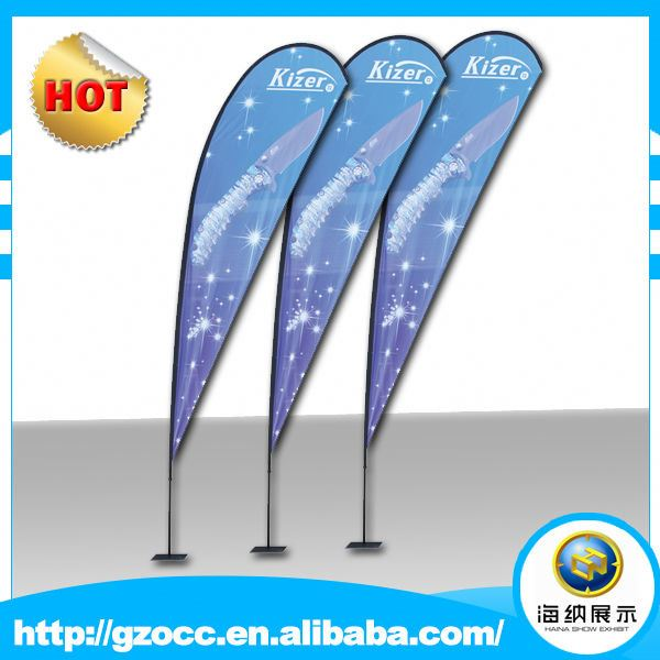 Luxury portable outdoor advertising fiber glass roadside advertising flags banner display beach feather flag price for promotion