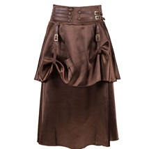 31625 Brown Geometric Pleated Pencil Skirt