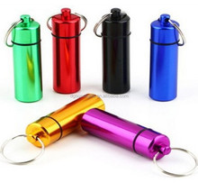 Waterproof Aluminum Pill box Cache Capsule Stash Container Case Key ring bottle keychain
