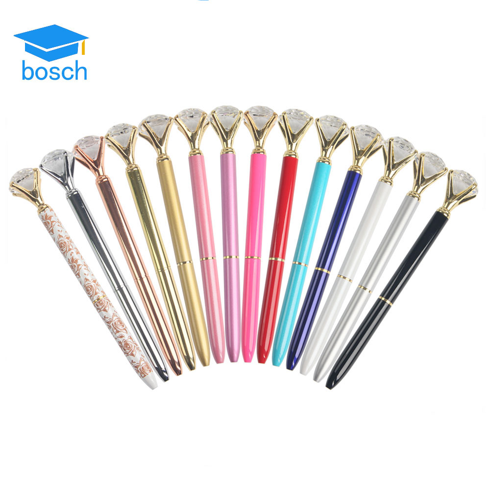Creative Stationery Multi-color optional Crystal Ball Pen with Big Diamond On Top Promotional Gift Pen For Lady