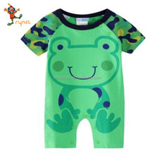 PGCC4996 Hot Sale Cute Frog Organic Baby Zipper Romper Infants Toddlers Clothing 100%Cotton Baby Clothes Baby Rompers