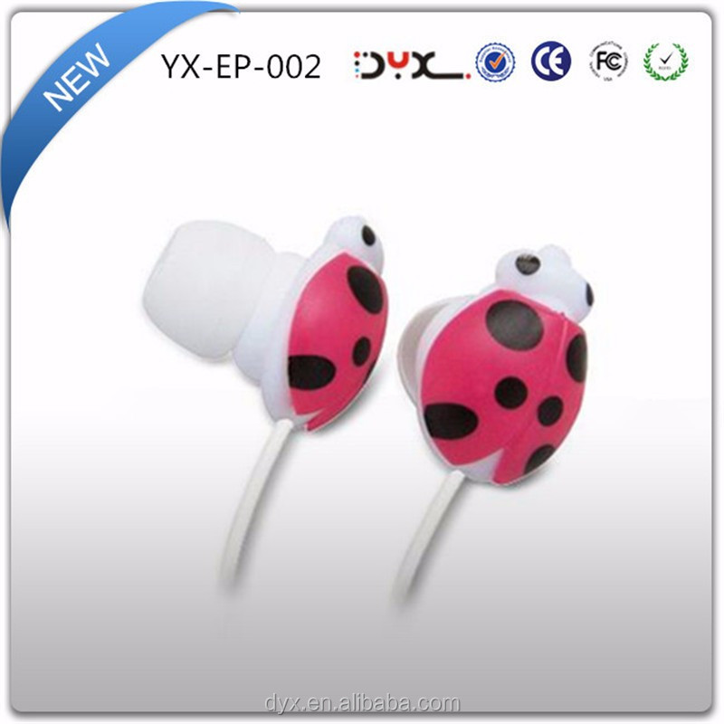 High Quality Super Bass Stereo Cute Colorful Animal Ladybug Earphone