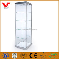 High quality glass cosmetic display cabinets/alloy jewelry display showcase