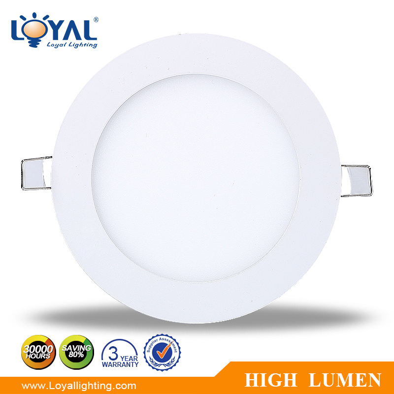 IP20 aluminum super bright round smd 9w celling led panel light