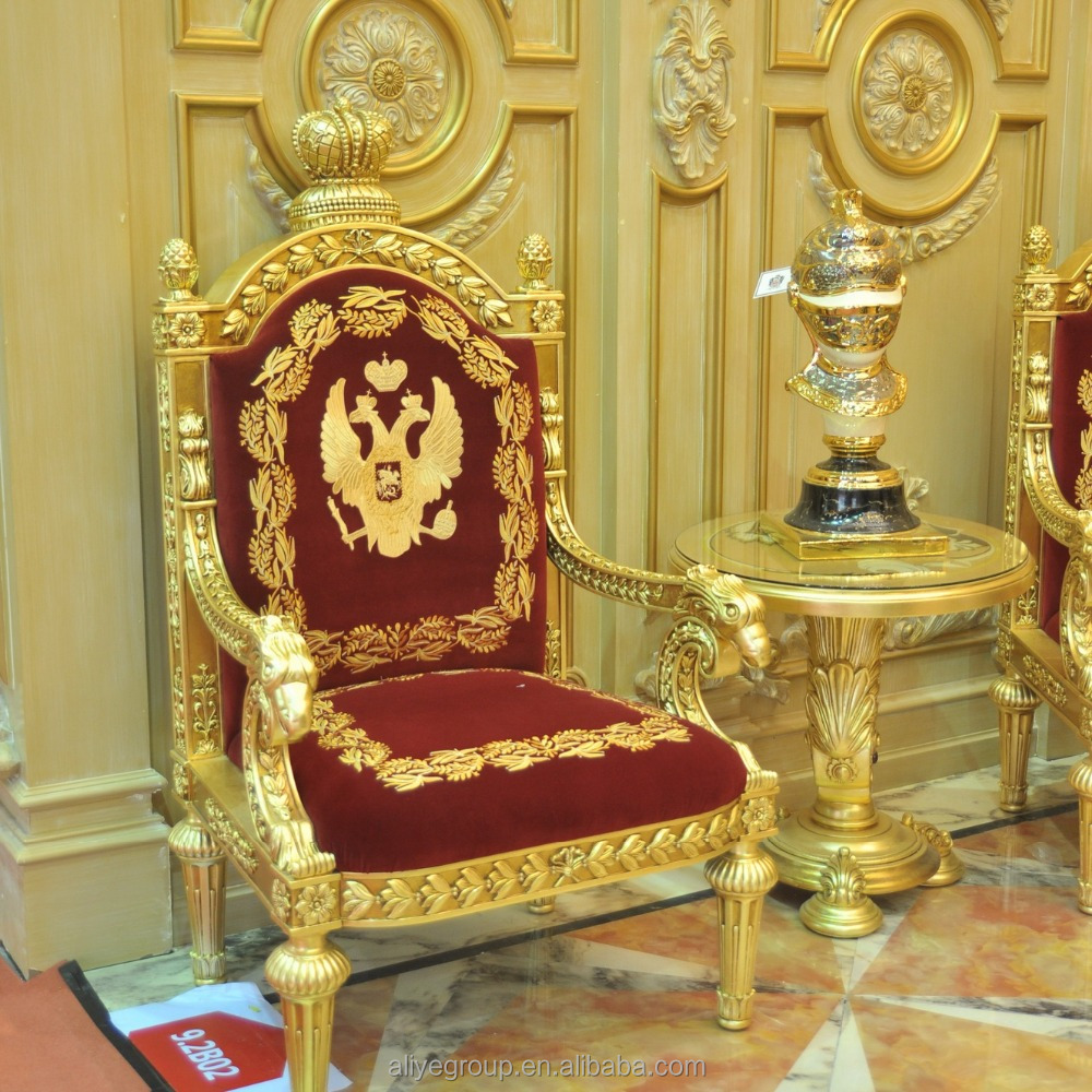 ALC01-NEW ARRIVAL Luxury Royal Solid Wood Gold Plated Throne Chair