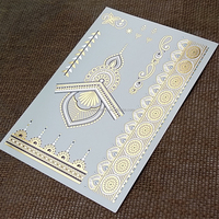 Metallic Gold Henna Flash Temporary Tattoo with Black Ink Ornament