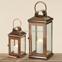 Set 2 Cuboid copper and glass lanterns