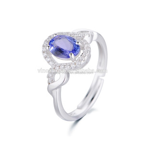 Gemstone Jewelry 925 Sterling Silver Jewelry Wholesale Natural Tanzanite Oval Cut Ring