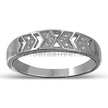 Rhodium Plated Hight Quality AA Cubic Zirconia Stones Band Unisex 925 Sterling Silver Ring Jewelry Wholesale
