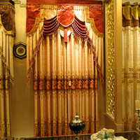 special golded metallic jacquard living room curtain, customize panel, embroidery brocade drapery