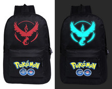 Pokemon go Printing elf backpack pocket monster luminous canvas bag backpack shoulder bag