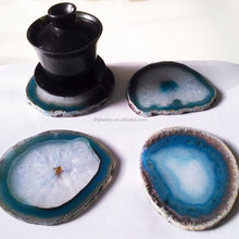 Wholesale blue agate stone slices coaster for cup mat