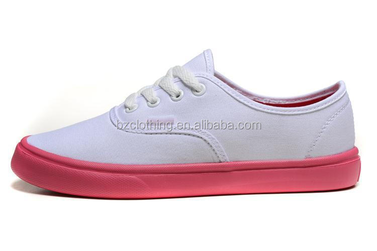 2015 Wholesale China Manufacturer Plain Sneakers Women White Canvas Shoes