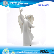 Angel with Butterflies White Porcelain Angel Figurine