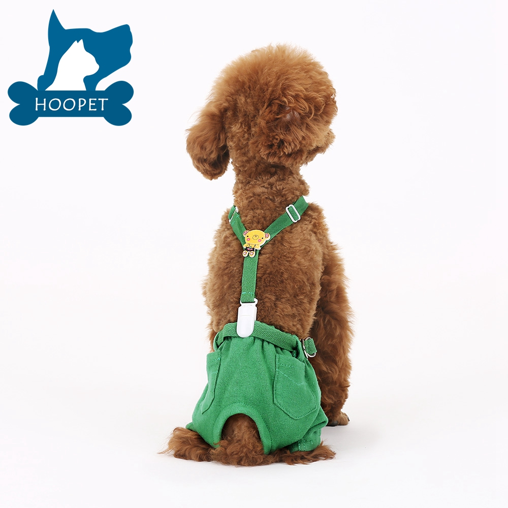 Cute Suspender Dog Pant Green Pet Clothes