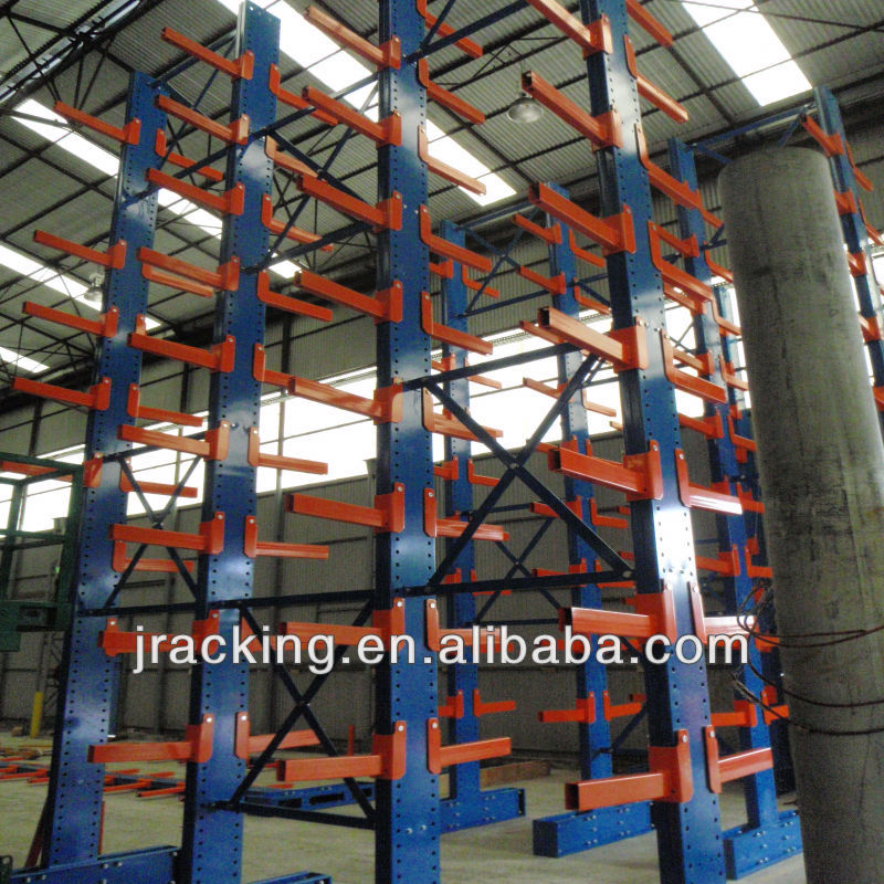 Adjustable and steady heavy duty sheet metal holding cantilever crack metal display rack wall mounted