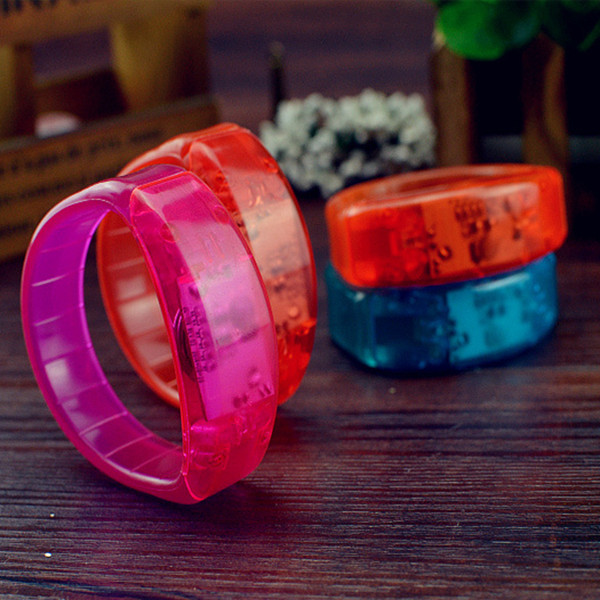 New Sound Activated led bracelet 5 colors light up toys flashing wristband plastic bracelet blinking party decoration