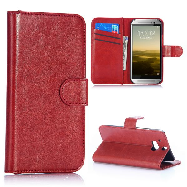 Crazy Horse Texture Wallet Pattern with Card Slots Flip Leather Case for HTC One M8