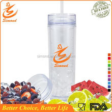 Hot Sale! 16 oz double wall plastic tumbler with straw, skinny tumbler