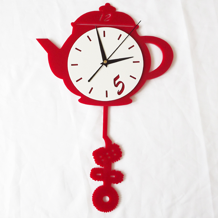 Wholesale red teapot acrylic art decorative wall clock