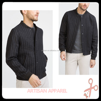 wholesale men's Woolen bomber jacket wit stripe jackets with Elastic cuffs and hem Zip fastening jackets