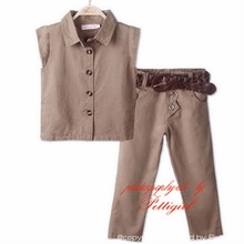 2015 Kids 2 Piece Clothing Sets Brown Sleeveless Top And Long Trousers With Twist Belt Wholesale Children Atumn Clothes
