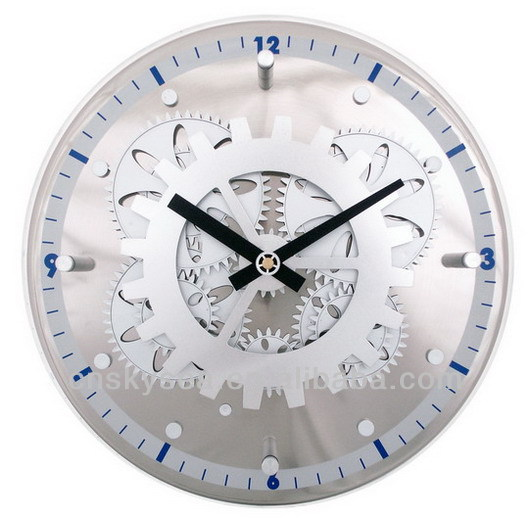 Moving-Gear Wall Clock with Glass Cover