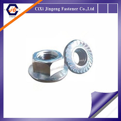 Flange hex knurled nuts white zinc plated hex flange nut din6923
