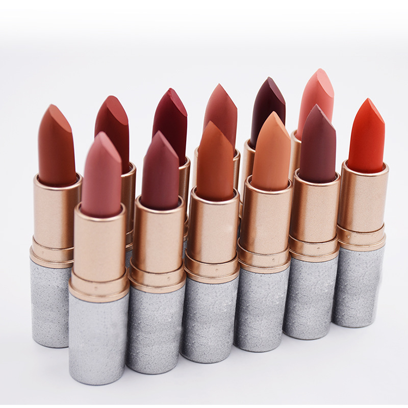New products 2018 waterproof no brand natural matte lipstick for customized private label lipstick